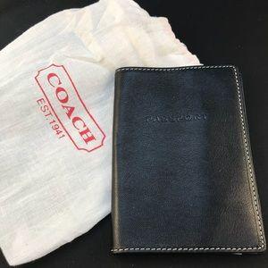 Coach Passport case black leather